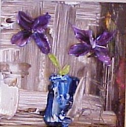 A01573 Purple flowers blue Pot