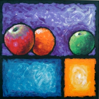 Fruit with purple rectangle 60cm x 60cm