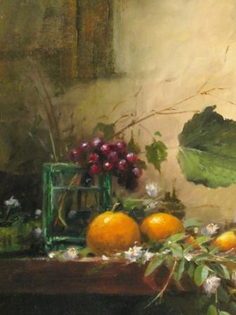 Green Jar, Grapes and Mandarins
