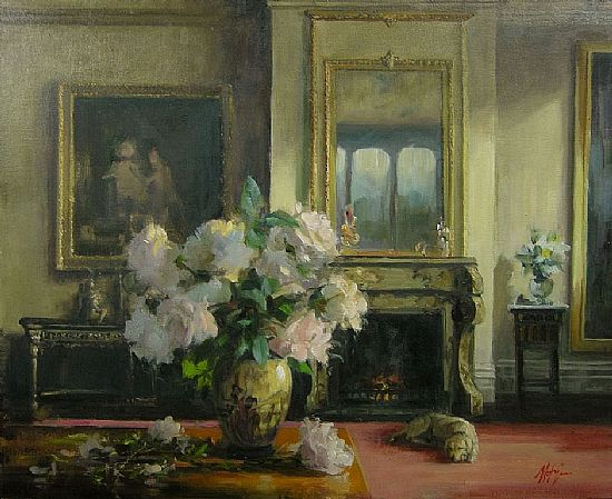 Interior with White and Pink Roses, Oil, 17x20inches