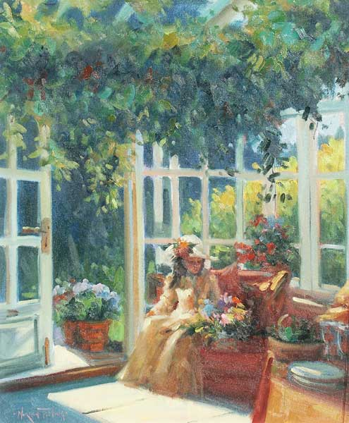 Seated Lady in Conservatory