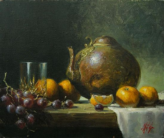 Old Copper Kettle and Grapes, Oil, 10x12inches