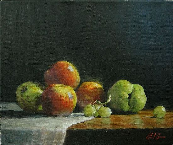 Pears and Apples with Green Grapes, Oil, 10x12inches