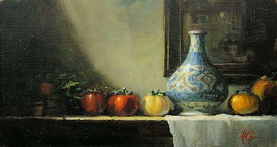 Persimons with Persian Vase,Oil, 8x15inches