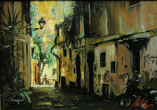 Side Street Trastevere Rome, Oil, 5x7inches