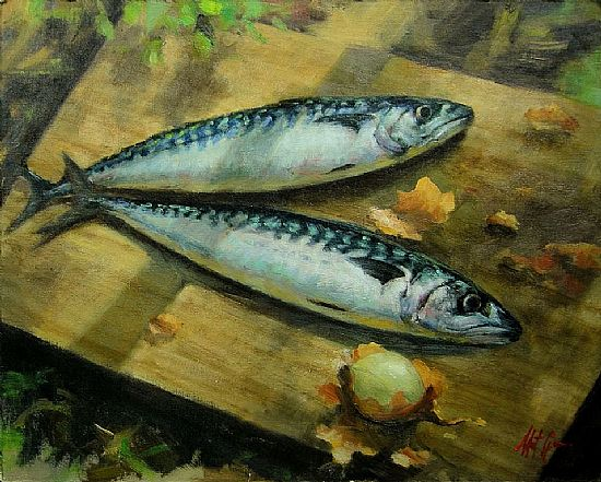Two Mackerel on Chopping Board, Oil, 12x15inches