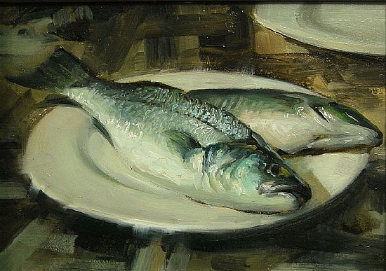 Two Sea Bass on Plate, Oil, 5x7inches